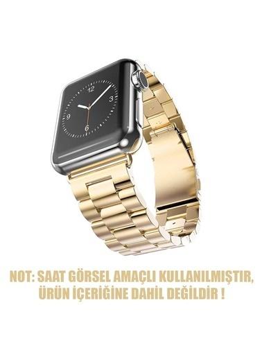 Jacobson Apple Watch 42-44mm Çelik Bakla Kordon Kayış Altın